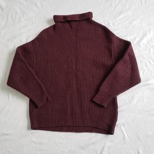Aritzia wilfred 100% wool burgundy sweater